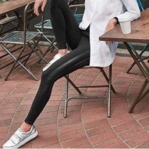 Athleta Black Faux Leather Tux Metro Leggings Size Small Tall